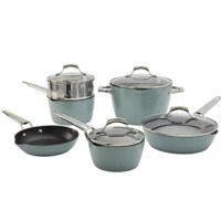 Designed with passionate cook in mind, this oven safe non-stick aluminum cookware set with induction base delivers fast and even heating. The enameled exterior is easy-to-clean and can be used as beautiful statement pieces in the kitchen. This set comes in two colors; Coral and Ocean Breeze. Constructed of ultra-durable non-stick aluminum, is manufactured to the exact standards of the Denmark Tools for Cooks brand. It is designed to promote efficient cooking and compliment entertaining...