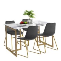 This dining set includes the perfect glass table for modern apartments with four matching velvet dining chairs. Gather four of your favorite family members and friends together for the ultimate elegant dinner they won't forget. The dining set is the perfect piece to center your dining area and draw everyone in to create memories and laughter around the table.