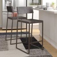 The comfortable yet stylish design of this bar stool is a perfect addition to any bar or dining space. Thin lines create a simplistic frame, while an industrial wood-pressed grain bamboo seat and backrest provide great support. Lightweight and stackable for easy storage, this a great stool for entertaining.