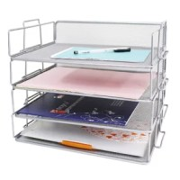 Wire mesh paper sorter has 4 pieces tier which be a good desk multifunctional organizer or file holder letter tray stackable for office, school and study.