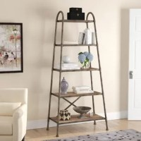 This urban industrial display piece provides ample storage space waiting to be accessorized. A sturdy iron framework finished in a brushed steel, with distressed acacia wood shelving.