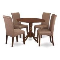 This dining table sets is specially designed to create that compact look, which is well suited for smaller dining spaces. This kitchen table and 4 person chairs match up properly in almost any typical dining area or dining-room. Its relatively small dimensions make this set an excellent choice for first-time buyers or those with smaller homes. The chair features tall back, upholstery, rolled back, high-density foam padding, solid hardwood frame construction, and linen upholstery make the chair...