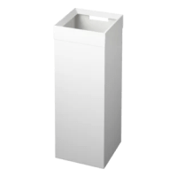 This metal wastebasket seamlessly hides plastic liner bags. Simply hang a plastic bag, then place the lid onto the unit. A cut-out handle makes transporting this a breeze.