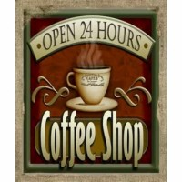 This 'Open 24 Hours Coffee Shop' Graphic Art Print on Canvas gives a unique touch to your home and enhances the style of the room. Show off your style and character with this beautiful accent piece.