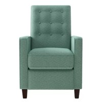 This reclining chair features squared arms and a button tufted back cushion design in a tweed fabric that is not only comfortable but beautiful as well. Simply push back to recline, no levers or handles required for comfortable long term sitting, TV viewing or just a relaxed recline. The comfortable soft seat and back support. This update of a classic style will provide the perfect accent to a living room, media room or master bedroom. Covered in a durable, easy-clean 100% polyester multi...