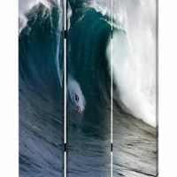 Put this Surfing Wave print Screen in your master bedroom, which pulls up the overall style of the room along with its served purpose of providing you with privacy whenever needed. This vivid looking screen pulls up the idea of calmness and serenity to our modern designed homes. The particular screen works well with different types of home decor settings, which consists of contrasting prints on both sides.