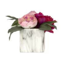 Bright and beautiful Peonies reside in an elegant marble look square pot.  This classic piece is an excellent accessory to any home or office.  No watering required!  Such an attractive piece makes a lovely gift, as well.