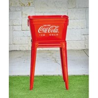 Add some nostalgia to your porch or patio with our 42 Qt. Coca-Cola Red Beverage Tub Set. This officially licensed Coca-Cola piece is inspired by vintage wash tubs, now re-modeled as a decorative solution for storing ice cold Coke. The tub can be removed from the stand for easy refilling. When the party's over, drain any melted ice with ease by pulling out the included plug.
