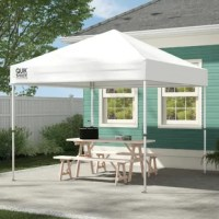 Weekender Elite 10 x 10 ft. canopy is an attractive straight leg canopy that offers up to 64 sq. feet of shade. Featuring 4 height positions, this canopy can shade between 4 to 6 people. This is a strong canopy that features hardened thru-bolt reinforced assembly, reinforcing the structural integrity of your shade. The Quik Release Pull Pins allow you to change between 4 height adjustments. The patented overlapping eave construction gives the unit stability and strength.