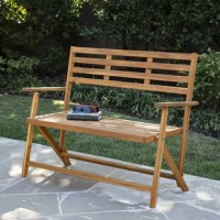 Easy-come, easy-go on this modern outdoor bench. Folding capability means assembly is a breeze, and small spaces just big enough. Modern slatted construction dries quickly for functional contemporary style. Enjoy sunrise or sunset with this balcony-ready bench centering your outdoor entertainment.