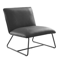 Built on powder-coated metal sled base in a black finish, the armless slipper accent chairs in stitching tufted leather upholstery features industrial style. Leatherback tilting in a reclined position is comfortable to lounge, optional colors in caramel, steel blue and dark grey, the slipper accent chair in low maintenance keeps a good look for longer.
