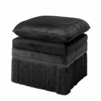 Invite glamour and luxury into your home with the Essex black upholstered Rochas Stool. Featuring a generous soft cushion pad and a base with playful fringes, this opulent ottoman radiates boudoir chic. Add this stool in your home for a touch of luxury and sophistication.