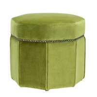 The stool is a wonderful asset for your living space or bedroom. Featuring a bague green upholstered frame with antique brass nailhead trim, this stool is a stylish extra seating option in your living lounge or a nice stool for your dressing table. Add this stool in your home for a touch of luxury and sophistication.