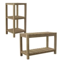 Mix and match your bathroom storage. This matching solid wood set includes a coffee table bench and three-tier storage tower. Designed for quick drying, slatted acacia constructs multifunctional shelving, giving you space for extra toiletries, towels, and coastal décor. Versatile bench seat provides a space to sit during spa treatments, and the storage below holds the spa supplies you need. Up the ante on your powder room style with this two-piece wood storage set.
