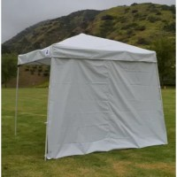 Easy, everyday use pops up instant canopy with shade wall, the impact select slant leg steel instant canopy is portable lightweight and quick shade. Whether you need shade while at the beach, sporting event, concert, camping or an outdoor flea market this is a perfect affordable shade solution. Includes 210 denier polyester cover with a silver backed coating for additional UV protection, a removable shade wall, slant leg steel frame, and polyester carry bag.