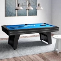 For hours of family fun and a modern centerpiece to the game room, we present the GLD Products Tucson MMXI 7' Pool Table! This 7.5' table is sure to be the subject of many game nights to come and will look good while doing it. The Tucson MMXI look begins with the finish. A deep black finish gives this pool table its signature arcade look. This finish and construction are designed to invoke feelings of modern pool playing centers. The pockets are built into the rails, hiding the ball...