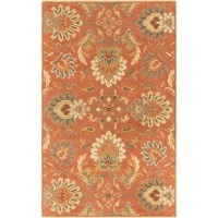 Welcome floral flair into any arrangement with this dynamic area rug, showcasing a classic botanical pattern in burnt orange tones. Crafted from 100% wool with a low 0.39