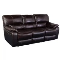 The Bert Power Leather Reclining Sofa is crafted with luxurious espresso top-grain leather with Polyurethane match sides. Generously sized for luxurious comfort, it features a plush padded chaise seat and leg rest, pillow top arms and a channel-stitched back that maintains its shape and support year after year.