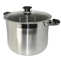 Attractive and practical, this heavy-duty all-purpose stockpot has what it takes to perform like a professional in your kitchen. This 20qt all-purpose stainless steel stockpot features an extra thick tri-ply encapsulated clad base. It is designed for even heat conductivity with a clad core (sandwiched aluminum between stainless steel) and polished to a beautiful mirror finish with vented glass lid. The handles are riveted bakelite handles to keep from getting too hot to hold. The 5-gallon...