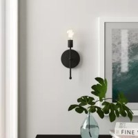 Whether you're looking to put a spotlight on your loft-worthy aesthetic or bringing a bit of updated appeal to your low-key and small space, this eye-catching wall sconce is equal parts striking and subtle in your ensemble. Featuring a clean-lined steel design, this understated sconce brings a bit of contemporary style to your look. Crafted from metal, this hardwired luminary accommodates one medium-base lightbulb of up to 60 W (bulb not included).