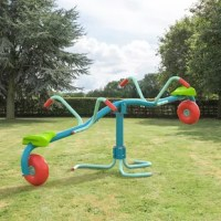 Take a seat, bounce, and spin on the new Spiro Spin! Wide rubber wheel cushions the up and down bounce of the seesaw and allows for superfast 360 degrees of spinning. Sturdy steel tubing is sure to hold up for the most active youngsters.  Ages 3 to 8  Max weight 77.16 lbs. per seat.