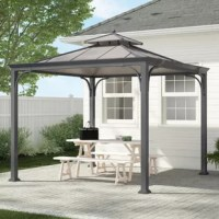 Enjoy the outdoors rain or shine with this versatile and attractive Sunjoy Hardtop Gazebo. Perfect as a garden gathering spot for friends and family or a cozy hideaway for a little personal timeout, you are securely protected from the elements with durable, rust-resilient, all-steel powder-coated construction that can withstand strong winds and heavy rain. Uniquely designed with a dual-tiered roof supported by strong posts, this functional piece is built to last and made to enjoy.