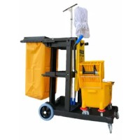 The Commercial Janitorial/Housekeeping Cart is made to last! Keep your supplies in one place with the ultimate mobile cleaning system. This versatile cart has three shelves with raised edges, handle and broom holders with hooks for flexibility in storing and transporting supplies. The carts are constructed of highly durable polyethylene for long-term use. Carts are easy to assemble with included hardware and instructions for quick set-up.