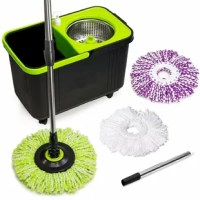 This product with Bucket is like a washing machine for your mop! It features a built-in washing spinner at the bottom of the bucket (for a cleaner mop head each time). The Spin Mop's wringer basket is made of durable stainless steel. It's easy to use just push down handle for Spinning & wringing. It also features a built-in and removable easy to fill soap dispenser. Sliding handle and wheels on the bottom of the bucket allow for easy moving from one room to the next (no heavy lifting)....