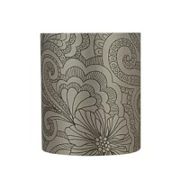Offers lampshade in taupe. Made with printed fabric with floral design. This lampshade is a UNO construction, designed to fit only Phenolic threaded sockets. Applications – For Table Lamps, Accent lamps, Vintage Lamps, Candle Stick lamps and Kid's Room Lamps.   Our hardback shades use Virgin Styrene backing board to produce a warm, natural & smooth light – more appealing than shades made with recycled Styrene board that can crack & yellow over time.