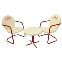 This officially licensed Coca-Cola retro bistro three-piece set is a recreation of the classic pieces your mom and dad always had in the yard or garden. These throw backs to original Art Deco designs are perfect for patios and porches! The chairs feature a red back with white lettering