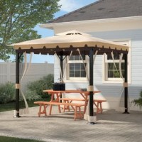 Enjoy the outdoor elements and relax in privacy with an elegant gazebo. Constructed with a steel frame with a durable powder-coated finish to prevent rust corrosion and chipping, this versatile lawn structure is exceptionally durable and elegantly designed. Accented with flowing romantic mesh, keep the sunshine or rain out or make the conversation truly private. Perfect for parties, intimate dinners or just relaxing, enjoy year after year.
