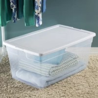 Get organized with the Sterilite Clear Storage Box line! The product is ideal for a variety of basic household storage needs, helping to keep your living spaces neat. The clear base allows contents to be easily identified at a glance, while the opaque lid snaps firmly onto the base to keep contents contained and secure. Stack same size containers on top of each other for efficient use of vertical storage space. This storage box is ideal for organizing and storing sporting gear, sleeping bags...