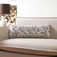 This Metallic Berries Indoor/Outdoor Lumbar Pillow is made by metallic chain stitching and handcrafted beading on the special metallic fabric. It adds the sparkle to your home for your holiday and all seasons.