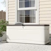 The Lifetime 130 Gallon Plastic Deck Storage Box is a great choice for your outdoor storage needs. This deck box offers storage space for accommodating your garden tools, pool accessories, and cushions. It also provides ample seating space for your deck, garden, or patio. The plastic construction ensures years of utility. This box is enameled with a Desert Sand color finish. The lift-open lid has a locking mechanism. This deck box has a weather resistant finish. It is fade resistant and mildew...