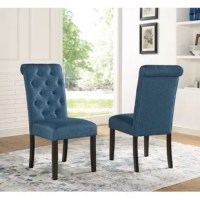 Simply elegant, this solid wood tufted dining chair has a style fit for royalty. This dining chair is upholstered in your choice of color perfectly accented with button tufting. The wood frames are armless design.