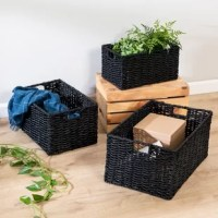 Clear the clutter in your space, whichever space it is, with these three rectangle storage baskets that can hold anything from throw towels to books to computer cords. These nesting storage baskets are stackable when not in use, and their built-in handles make transporting items around a breeze. In addition to their undisputed functionality, they bring a unique design element to your space.