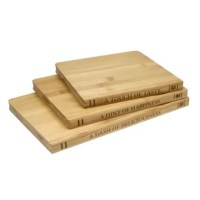 This set of bamboo cutting boards is the perfect mixed style and function. Mimicking library books, these cutting boards have a reversible cutting surface and they are gentle on your knives.  After you're done slicing and dicing, wipe the board clean and serve your favorite meat and cheeses or bread. Bamboo is very hard and ideal for cutting boards. Plus, it is environmentally friendly and sustainable.