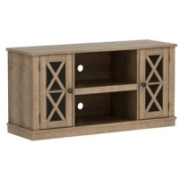 Anchor your living room or den in breezy beach house style with this TV stand. Crafted of manufactured woods with laminate veneers, this TV stand strikes a rectangular silhouette with simple moldings, X-frame paneling, and a streamlined plinth base. Two side cabinets are perfect for stowing A/V essentials, while two center shelves can house your cable box and entertainment console, or can be swapped out for an optional electric firebox.