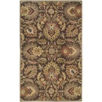 Bring a bit of garden-worthy grace into your indoor space with this eye-catching area rug. Showcasing a Persian-inspired floral pattern, it makes a statement while also staying subtle with neutral hues of chocolate and green. Made in India, it is tufted from 100% wool pile with cotton canvas and latex backing (recommended for use with a rug pad). This piece is available in a variety of sizes, so you can select the one that best suits your ensemble.