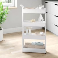 We know plenty of homes have narrow nooks in spaces where storage is at a premium, but a piece like this is perfect for filling them! Crafted from plastic with a free-standing design, this sliding shelf features four tiers of shelving, so it's perfect for everything from spices and spare toiletries, to cleaning supplies and more. So it's slim enough to slip between appliances and cabinets.
