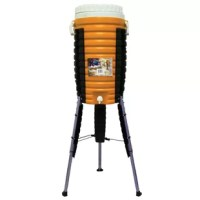 The Orange OR549 Kosmo Cooler can taken to the great outdoors, on a jobsite, or kept at home for refreshing drinks at any time! With legs extended, it stands at a tall 48 in. Capacity is 5 gallons and it features a useful 5 cup holder built into the lid.