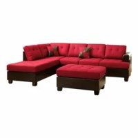 This 3 pieces sectional sofa impeccable design of textures and tones, this 3-piece sectional includes a sofa, reversible chaise, and cocktail ottoman draped in poly fiber framed in faux leather making it the perfect solution to the modern home decor. It's plush back and seating feature accent tuft. It does not include any featured product other than 1 reversible left/right chaise, 2 seat sofa, and cocktail ottoman.