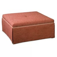 This beautiful square cocktail ottoman features a high dressmaker skirt and a center button for a classic, elegant look.