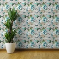 Our smooth wallpaper is a durable paper with a water-activated adhesive backing. It's long-lasting but fully removable, making it great for apartments, rentals, and an array of craft and decorating projects. Smooth wallpaper makes adding a one of a kind accent wall or updating a whole room a cinch. We recommend the Smooth Water-Activated Wallpaper for children's rooms and nurseries.     Featured Design: Mountains Call Of The (Olive) Mountain Range Hiking Wild Adventure Wilderness by Nouveau...