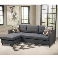 This 2 pieces reversible sectional sofa is a modish furniture piece to adorn in any living space, this sectional stocked in a smooth linen-like finish and seating accent tufting. This modular piece is also supported by short pegged leg supports and 2 accent pillows. You can adorn this in any interior for comfortable and stylish sitting. Does not include any featured product other than 1 reversible sectional.