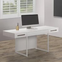 Stay organized and professional with this stunningly chic writing desk from this collection. Perfectly suited for a contemporary home office or multi-use studio space, this desk features a white melamine laminate tabletop, supported by slim, sturdy steel legs. With a concealed, large middle drawer that converts into a keyboard tray, as well as two flanking drawers that hold office supplies and stationery, this desk offers a super stylish work environment. Lend an ultra-modern look to an...