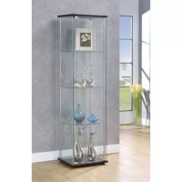 Go for a fresh new look with artistic influence. This curio cabinet turns design on its head with a new twist on tradition. Perfect for transitional spaces, its chrome support beams and cappuccino finish base and top nicely complement glass shelving and exterior panels. Three shelves clear the way for showing off your best decor. Upgrade a stylish living space with this fabulous find.  Piece: Glass Curio W/ Cappuccino Top/Bottom Width: 16.75 in Depth: 14.25 in Height: 63.75 in Weight: 81.75 lbs