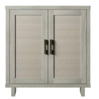 This cabinet adds texture and depth to your space with the unique look of this accent cabinet fit for any room. Linen-inspired cabinet doors offer a cool, look and conceal two interior shelves that are adjustable. It is perfect for stylish storage of books and supplies in your home office or holding movies and games in your living room, this cabinet offers multipurpose storage solutions. It with cutouts in the back panel for managing cords, it is also a great option for holding electronic...