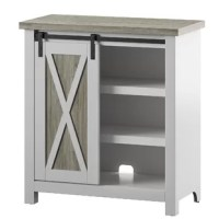 This product is perfect as a living room accent piece, hallway storage, or an entryway surface, this accent cabinet can be used anywhere you need a little extra room to stow belongings and want some flair to boot. The fully functional sliding barn door features a two-tone design with a wood-grain look that pairs well with a variety of decor in your home. Not only easy on the eyes, but this accent cabinet is also functional with two adjustable interior shelves for flexible storage that fits your...