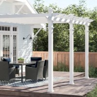 Complete your outdoor space with this pergola! Crafted from white vinyl for a classic look, it showcases a latticed look up top that's perfect for holding climbing plants or giving your patio a cozy and protected look. To keep this pergola looking it's best, all you need to do is give it the occasional spritz with a hose. Assembly is required.